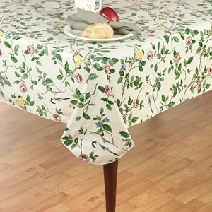 Elrene Home Fashions Vinyl Tablecloth With Polyester Flannel Backing Floral  Morning Easy Care Spillproof, 60u0026quot