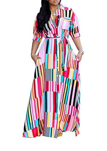 Geulis Women's Summer Striped Long Maxi Dress Short Sleeve V-Neck Button Down Shirt Dresses Plus Size -