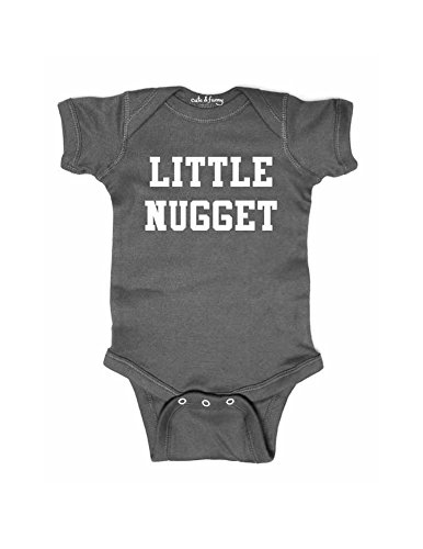 (cuteandfunnykids Little Nugget - Cute Funny Baby one Piece Bodysuit (6 Months Bodysuit, Charcoal))