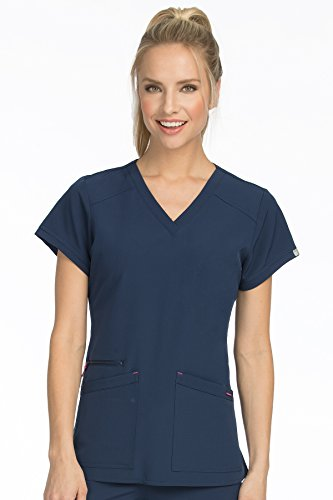 Scrub Couture Top - Med Couture Women's 'Air Collection' V-Neckline Sky High Scrub Top, New Navy/Tango Pink, Small