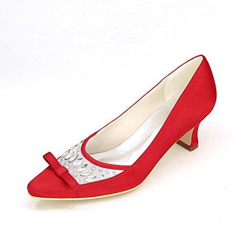 L@YC Frauen High Heels Frühling Sommer Herbst Winter Platform Satin Hochzeit & Abend Fine Heel Plattform Red