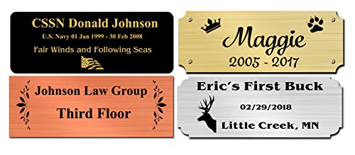 1.5 H x 4 W, Solid Brass Name Plate, Satin Finish Personalized Custom Laser Engraved Nameplate Label Art Tag for Frames Notched Square Or Round Corners, Made in USA (4 W)