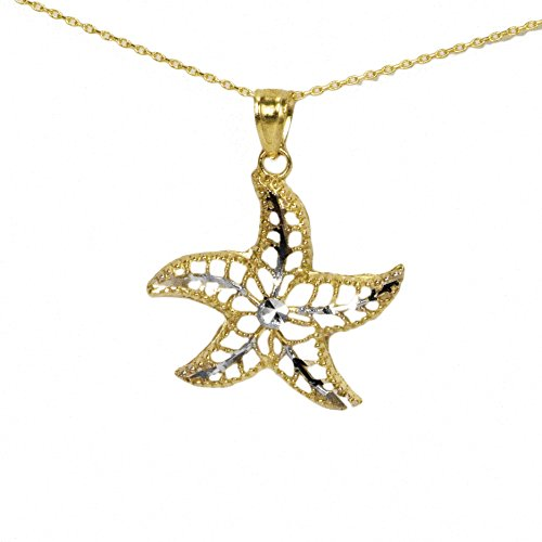 - 14k Yellow Gold Starfish Pendant