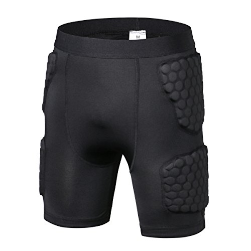PINMEI Mens Padded Compression Short Crashproof Anti-impact for Basketball Football Soccer Hockey Rugby Cycling (Short, M)