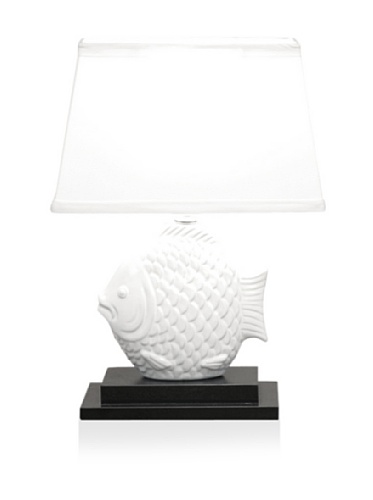 White Ceramic Fish Lamp by Dennis East