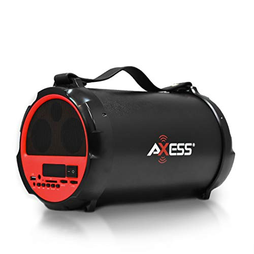 AXESS SPBT1037 Portable Bluetooth Indoor/Outdoor 2.1 Hi-Fi Cylinder Loud Speaker with Built-In 4