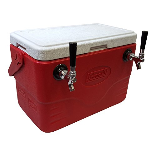 Double Faucet Cooler (NY Brew Supply 50' Stainless Steel Coils Jockey Box Cooler with Double Faucet, 28 quart, Red)