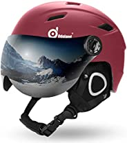 Odoland Snow Ski Helmet with Detachable Visor, Shockproof/Windproof for Skiing, Snowboarding, Motorcycle Cycli