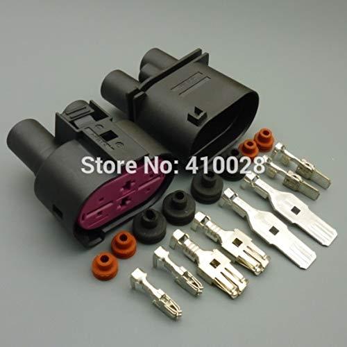 Davitu 5/30/100sets 6.3mm+9.5mm 4pin male female DCS Power Sealed connector Oxygen sensor plug Fan controller plug for VW - (Color Name: 30set male ()