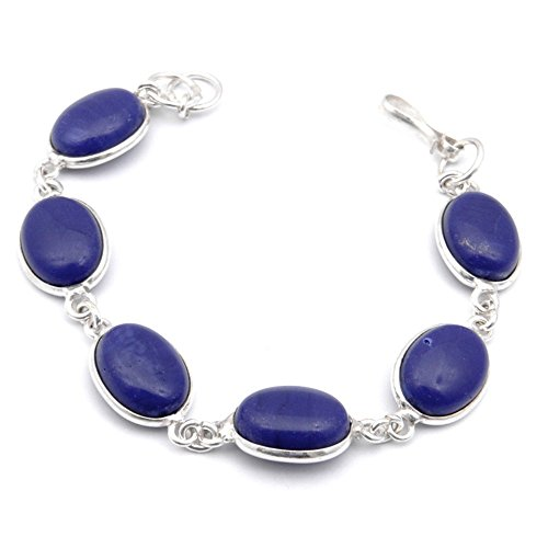 Outstanding! Handmade Jewelry! Blue Dyed Sapphire Sterling Silver Overlay Bracelet 7-9 by Shivi