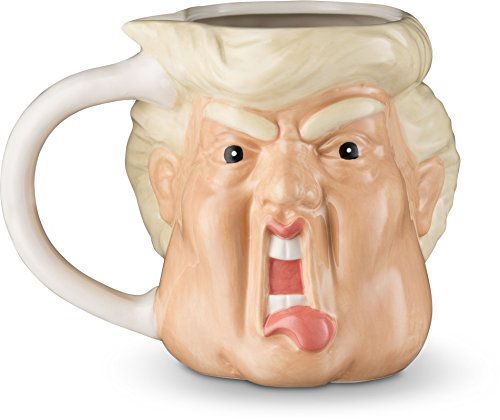 Decodyne Donald Funny Novelty Mug - 20 Oz - Hand Painted Donald Trump Face Shape Ceramic Coffee (Hand Painted Coffee Cup)