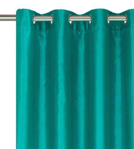 Solid Teal Faux Silk Grommet Curtain Panel 58 By 84 Inch 2016