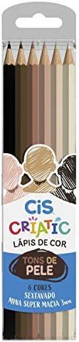 CRIATIC Lápis de Cor CIS Sextavado 3mm c/ 06 Cores Tons de Pele, Sertic, 60.0300