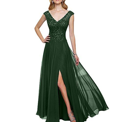 Promkleider Gruen Langes Brau Partykleider Abendkleider Dunkel Ausschnitt mia Abschlussballkleider La Brautmutterkleider Damen Spitze V Raqx0cwT6S