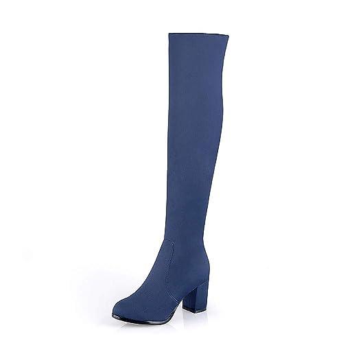 cf2e693df4053a BeautyTop Bottes Femme Femmes Mode Imprimé Chaussures à Talon à Bout Rond  Tube Long Martin Bottes