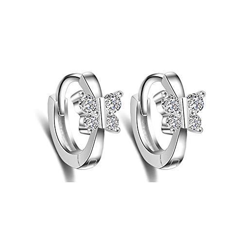 (Cute Butterfly Sleeper Small Hoop Earrings Sterling Silver CZ Crystal Huggie Round Earring for Women Teen Girls)