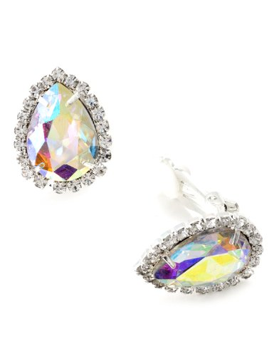 Silver Crystal Rhinestone Wrap with Aurora Borealis Teardrop Center Clip Earrings