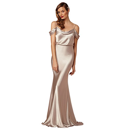 Train Short Sleeve Satin (LANSITINA Women's Mermaid Cowl Neck Sweep Train Silk Like Satin Evening Dresses,6)