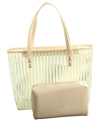 Donalworld Beach PVC Shoulder Strip Jelly Candy Women Beige Bag Satchel Tote arqawU7S