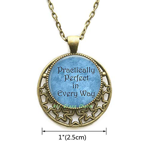 - AllGlassCharm Practically Perfect in Every Way Pendant Necklace-Literature Quote Jewelry-Literary Necklace-Perfection-Perfectionism,AS0199