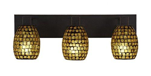 Toltec Lighting Apollo 3 Light Bath Bar Copper Mosaic Seashell Glass ()