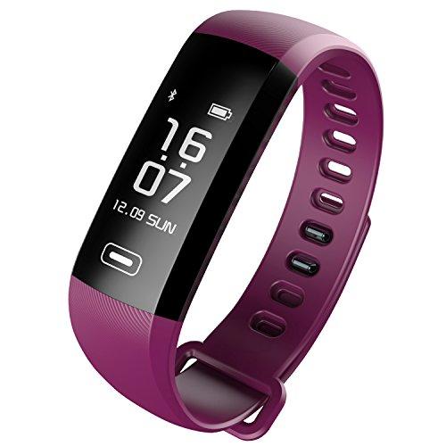 Women Pedometer Heart Rate Monitor Sleep Fitness Tracker Smartwatch Silicone Bracelet By READ (Purple)