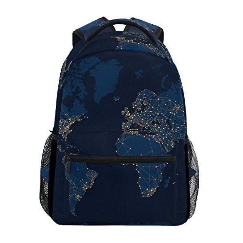 Backpack Travel Galaxy World Map School Bookbags Shoulder Laptop Daypack College Bag for Womens Mens Boys Girls