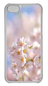 carry covers spring sakura cherry PC Transparent case for iphone 5C