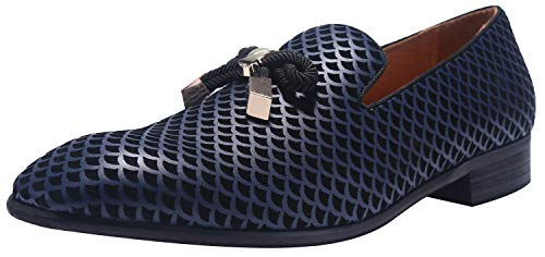 (ELANROMAN Loafer Men Slip-on Flat Slippers Dress Shoes with Gold Metal Snake Print Blue Fashion Party Smoking Slippers Formal Shoes for Men)