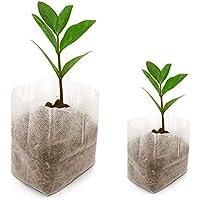 KINGLAKE Lot de 200 Sacs biodégradables Tissu Non tissé pour Plantes semis Sacs de Croissance d'élevage