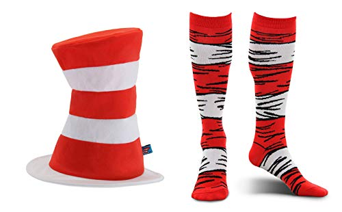 elope Dr. Seuss Cat in The Hat Tricot Plush Hat and Costume Socks Adults Kit Bundle Red