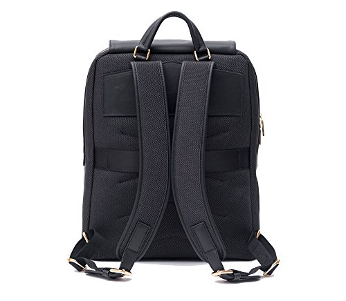 PMAI-Premium-Valletta-Leather-Laptop-Backpack-for-Women-with-Wristlet-I-15-Inch-Executive-Laptop-and-Notebook-Computer-Backpack-I-Ideal-for-Business-Travel-Work-I-Incl-Commuter-Purse--Black