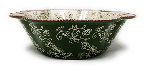 Bowl Ruffle Edge (Temp-tations Fluted Salad or Fruit Serving Bowl 3 Quart Flower Edge (Floral Lace Green))