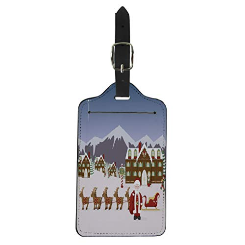 Pinbeam Luggage Tag Santa North Pole Village Scene His Sleigh Elves Suitcase Baggage Label