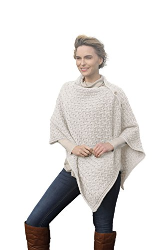 Aran Woollen Mills Supersoft Merino Wool Buttoned Irish Cape/Poncho - Irish Poncho