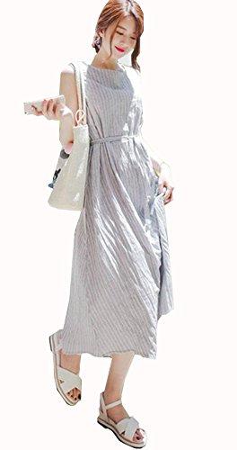 JIANGWEI ワンピース 夏 レディース 大人 上品 マキシ丈 きれいめ 大きいサイズ ロングワンピース ノースリーブ ストライプ柄  綿 リボンベルト付き エレガント オシャレ ゆったり 可愛い ナチュラル リゾート ラブリー