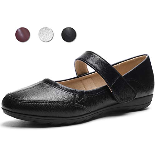 CINAK Flats for Women Mary Jane Shoes Black ()