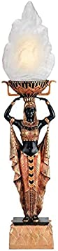 56 cm Set of Two Black and Gold Design Toscano Egyptian Maiden Torch Offering Table Lamp Light Fixture Statue Polyresin