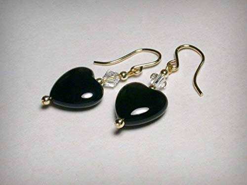 Filled Heart Dangle - Genuine black onyx earrings, with Swarovski crystal elements, in 14K yellow gold filled. Black heart &, dangle drop crystal earrings.