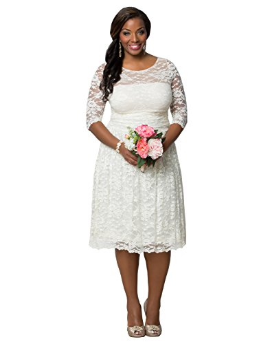 Kiyonna Women's Plus Size Aurora Lace Wedding Dress 0X Ivory by Kiyonna Clothing