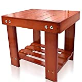 Bamboo Step Stool For Kids Children Adults Durable Anti-Slip Lightweight Wooden Stool With Storage Shelf Multifunctional Small Size Toddlers Seat Bench for Bathroom Kitchen Living Room Bedroom