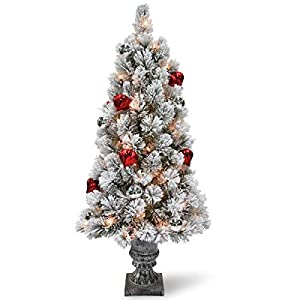 National Tree Snowy Bristle Pine Tabletop Tree with Battery Operated LED Lights 36