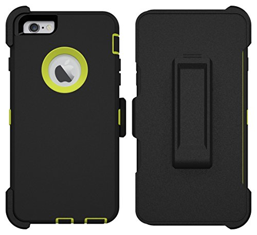 iPhone 6 Plus Case, iPhone 6S Plus Case, ToughBox® [Armor Series] [Shock Proof] [Black | Lime] for Apple iPhone 6 Plus Case [With Holster & Belt Clip] [Fits OtterBox Defender Series Belt Clip]