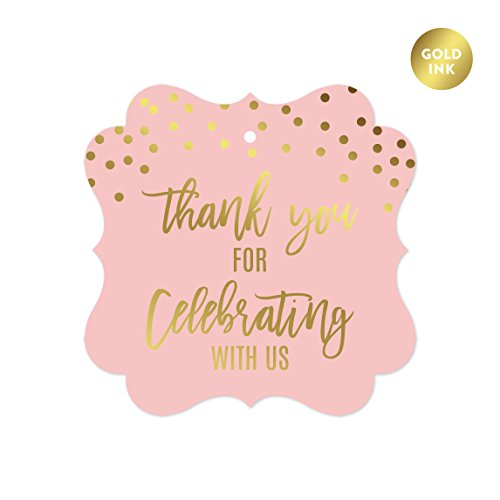 Andaz Press Blush Pink and Metallic Gold Confetti Polka Dots Baby Shower Party Collection, Fancy Frame Gift Tags, Thank You for Celebrating with US, 24-Pack]()