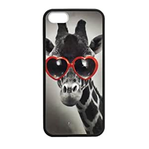 Fashion Design Retro Cute Deer Red Glasses Iphone 5s Case Shell Cover (Laser Technology)