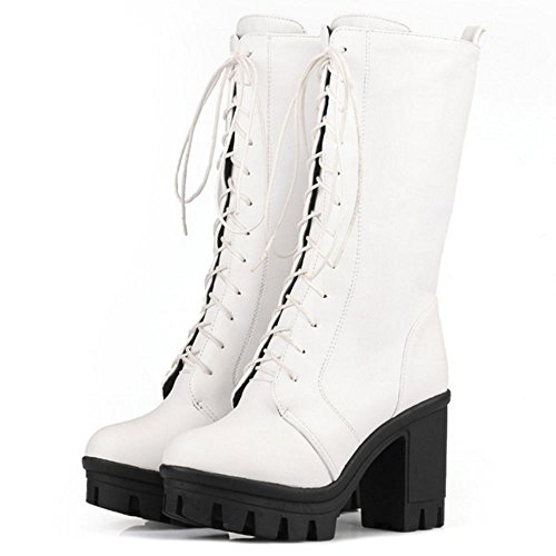 COOLCEPT Platform Heel Comfort Women Boots Block Lace White Half Up UrqU7