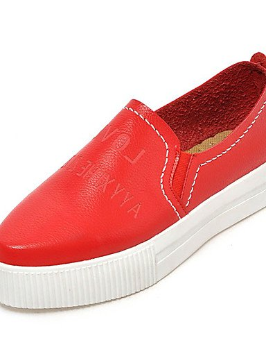 ZQ Zapatos de mujer-Plataforma-Plataforma / Comfort / Punta Redonda-Mocasines-Vestido / Casual-Semicuero-Negro / Rojo / Blanco / Plata , red-us6 / eu36 / uk4 / cn36 , red-us6 / eu36 / uk4 / cn36 red-us7.5 / eu38 / uk5.5 / cn38