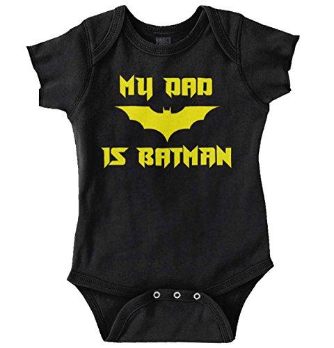 My Dad is Bat Cute Baby Father Daddy Nerd Romper Bodysuit Black ()