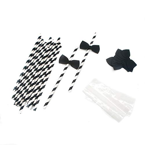 HUELE 60 pcs Bow Ties Decorative Paper Drinking Straws Little Man Cocktail Straws for Birthday Wedding Baby Shower Theme Party Decoration Supplies