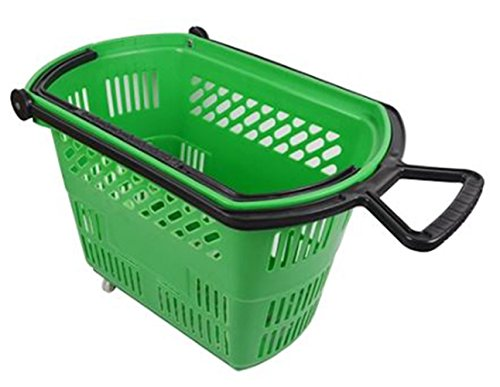 Rolling Plastic Shopping Baskets with Pull Handle Carton of 6 (Green) by DFW